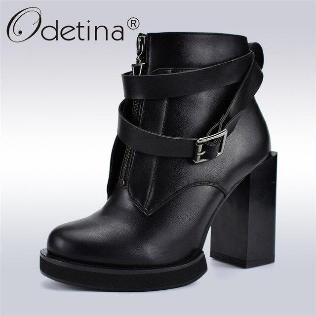 Odetina/осень-зима; Дизайнерские ботильоны для женщин на молнии спереди; Модные женские ботинки на высоком квадратном каблуке с пряжкой и ремешком на платформе