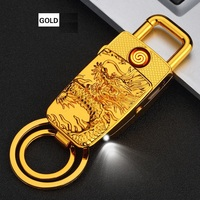 Personalized Keychain Lighters USB Charging Electronic Cigarette Lighter Smoking Gadgets With LED Light Gifts For Men
