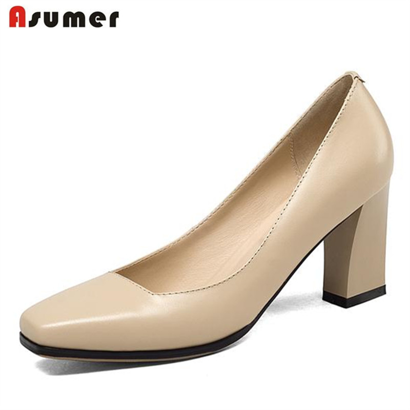 Asumer Office lady work shoes elegant mature high heels shoes square toe genuine leather single shoes four seasons shallow цена 2017