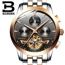 2016 Швейцария luxury мужская watche BINGER бренд Механические Наручные Часы Наручные Часы сапфир полный нержавеющей стали B1188-6