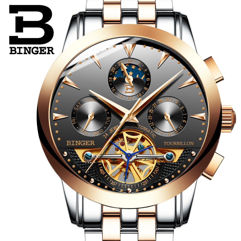 Switzerland luxury men's watch BINGER brand Tourbillion Mechanical Wristwatches Sapphire full stainless steel Clock Male B1188-6