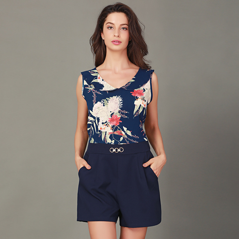 2018 New Summer Fashion Women Beach Casual Loose Playsuits Ladies Sexy Sleeveless Floral Print Streetwear Girls Cute Playsuits