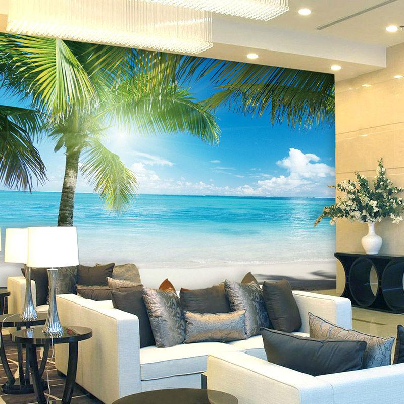 ... Coconut Tree Beach Photo Wallpaper Custom 3D Wall Murals Ocean Sunshine  Wallpaper Boys Kids Bedroom Interior ...