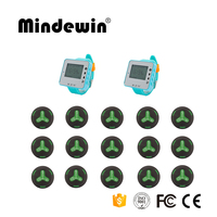 Mindewin Customer Service Number Pager 15pcs Waterproof Call Buttons +2 pcs Watch Pager Restaurant Wireless Call Pager System