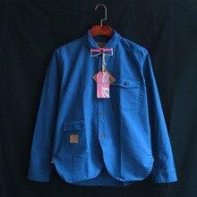 Oldsaints 2017 New Summer Autumn Blue Denim Shirt Men's Cotton Vintage Jeans Clothing Long Sleeve Men Vintage Shirt OS-091