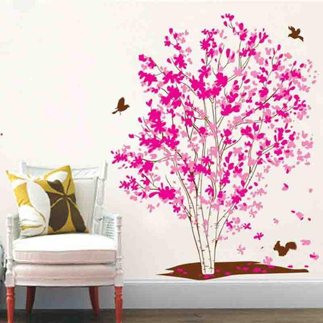 Rose Red Maple Tree Wall Sticker Diy Dekorasi Dinding Ruang Tamu Burung Decals Stiker