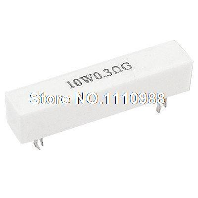 5 Pcs 10W <font><b>0.3</b></font> <font><b>ohm</b></font> 2% Ceramic Cement Power <font><b>Resistor</b></font> 10 Watt image