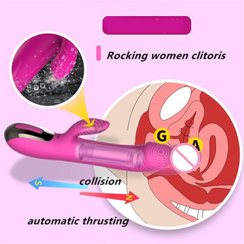 Leten Rechargeable Silicone Heating Automatic Thrusting Dildo Vibrator,Rocking Clitoris Collide Woman g spot Vibrator Sex Toys