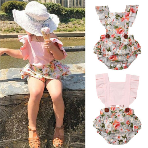 2019 Cute Baby Girl   Romper   Floral Pink Jumpsuit Sunsuit Summer Outfits for Kid clothes toddler Children newborn infant 0-24M