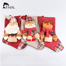 New Christmas Stockings Socks Santa Claus Candy Gift Bag Xmas Tree Decor Festival Party Ornament