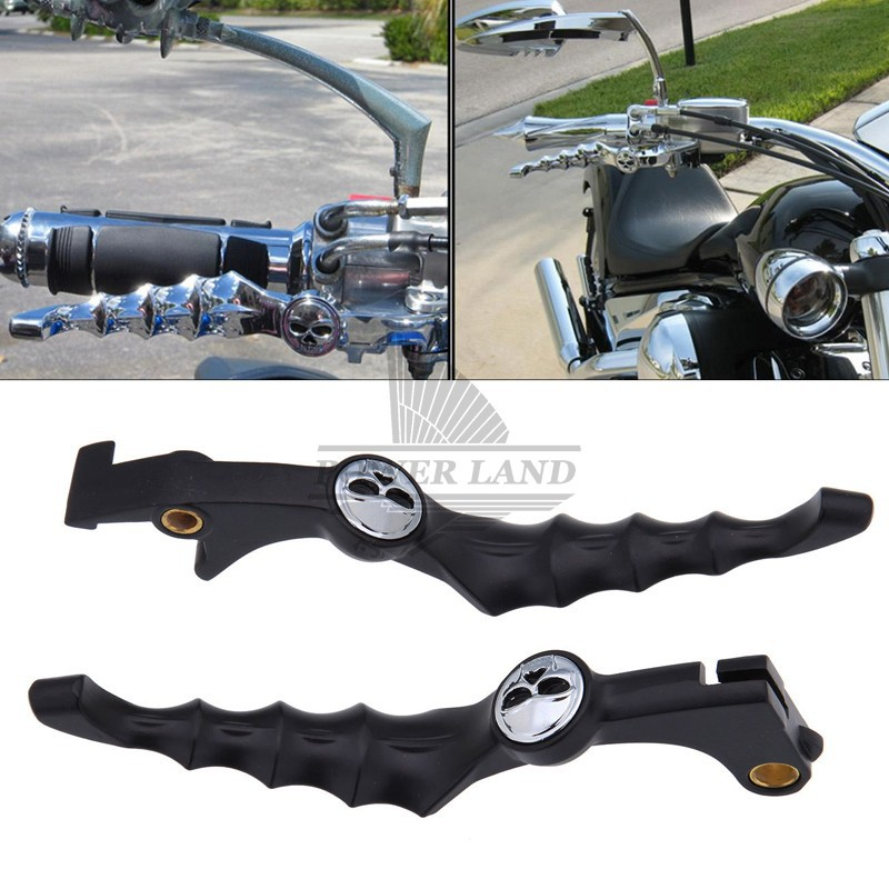 Black Billet Aluminum Skull Brake Clutch Skeleton Zombie Left&Right Handlebar Lever Fit For Honda Shadow VTX VT600 VT750 VT1100C left clutch brake lever assy and front brake handle bar suit for cf650nk cfmoto parts code is a000 100200 a000 080113
