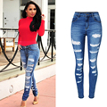 Olrain Women's Fashion  Denim Hole Destroyed Ripped Hole High Waist Jeans Slim Fit Skinny Stretch  Denim Pencil Pants