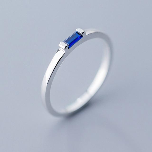 INZATT Real 925 Sterling Silver Blue Zircon Rectangle Ring For Fashion Women Fine Jewelry Cute 2019 Minimalist Accessories Gift