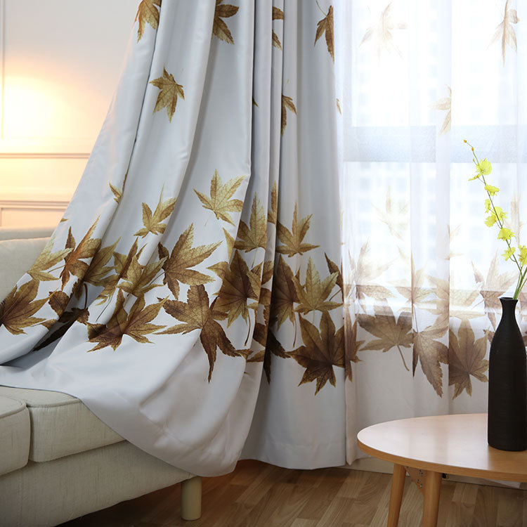 New Design High Quality Living Room Curtains,Maple Leaves