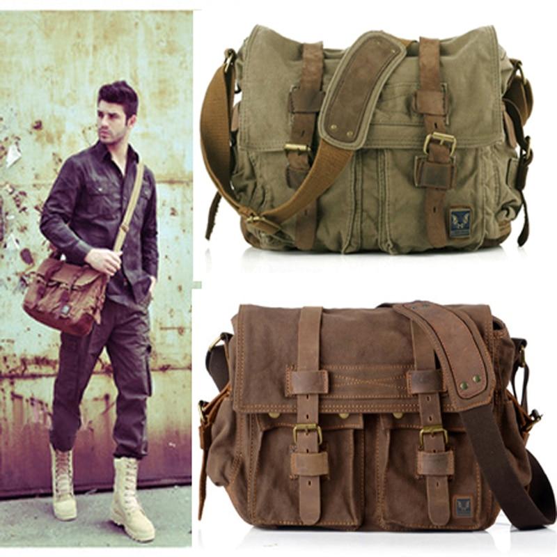 2018 Retro Vintage Cotton Canvas Leather Mens Messenger Bag Shoulder Bag Military Canvas Crossbody Bag Men