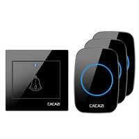 CACAZI Drahtlose Wasserdichte Türklingel Smart Sender EU Stecker Home Aufruf Glocke 300M Remote LED Batterie Taste 36 Chime 4 volumen