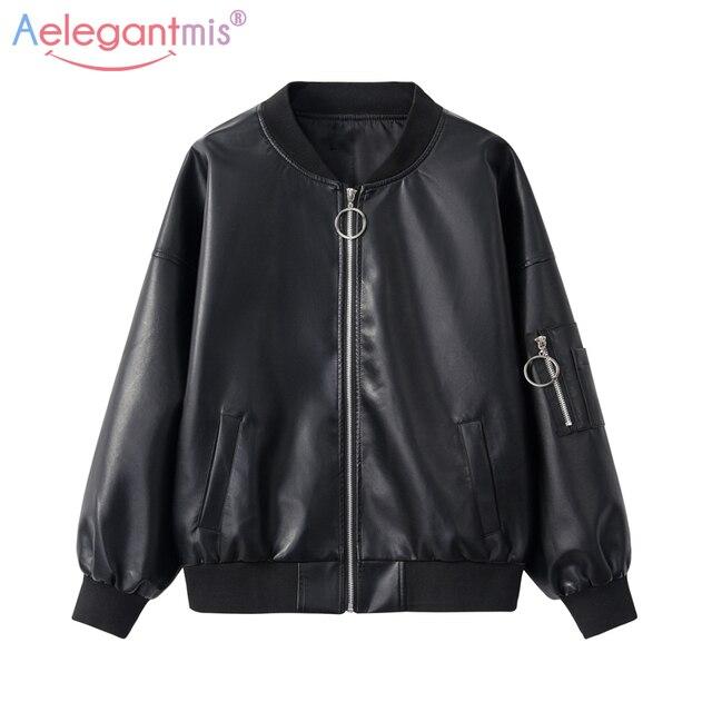 261b4db9050 Aelegantmis 2018 New Brand Loose PU Faux Leather Jacket Women Classic  Bomber Jacket Lady Autumn Baseball Jacket Coat Plus Size