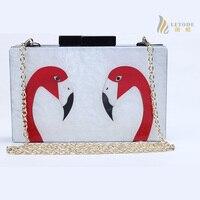 Flamingo Weiß Acryl Frauen Abend Handtasche Kette Schulter Handtaschen Crossbody Hardcase Kupplungen Hochzeit Prom Geldbörse Top