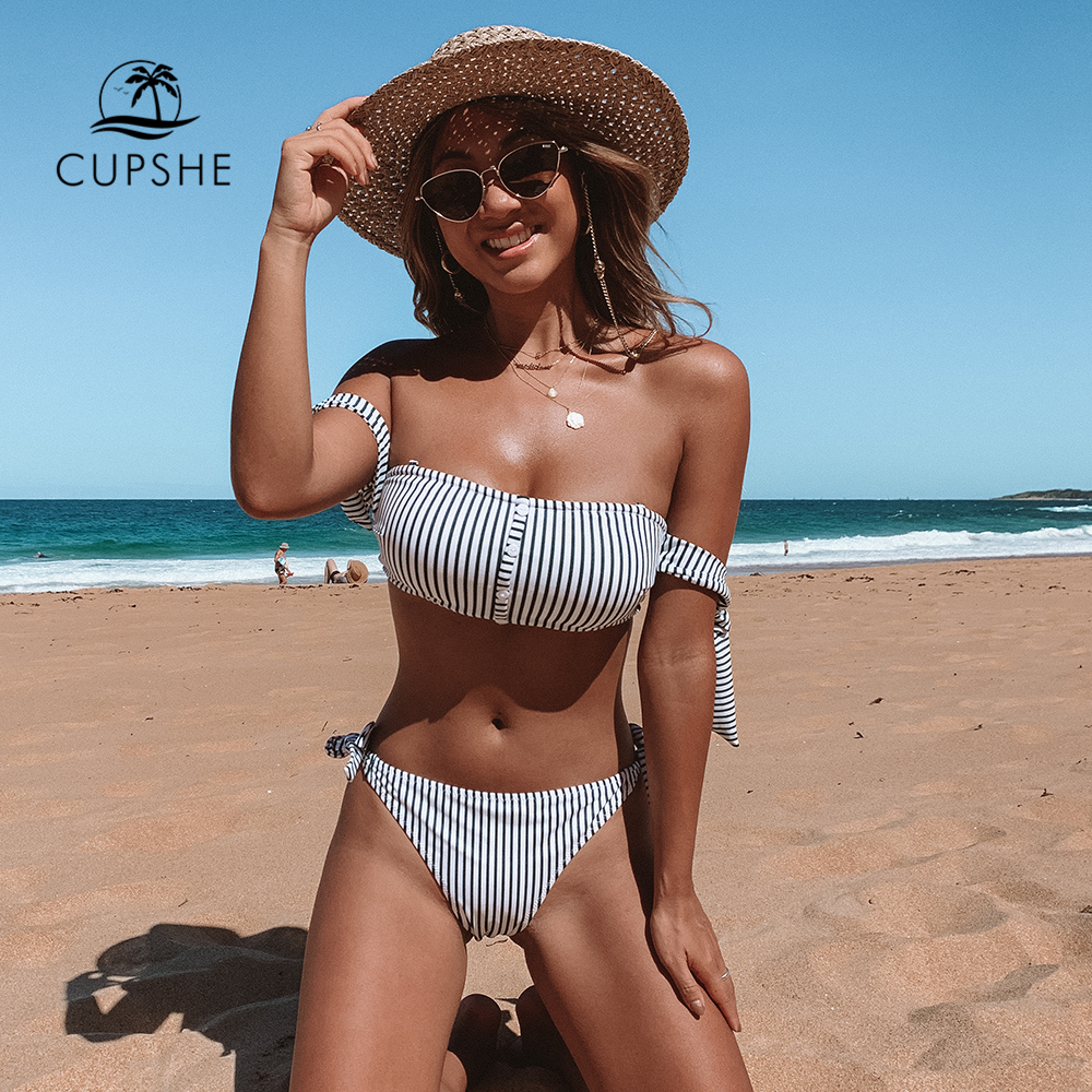 CUPSHE Green And White Stripe Off-The-Shoulder Bikini Sets Women Tied Bow Two Pieces Swimsuits 2020 Girl Beach Bathing Suits