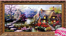 2019 hot Diamante Mosaic Paisagens lodge Jardim cristal Pintura Diamante Cross Stitch Kits Diamante Bordado Casa Decoração zx(China)