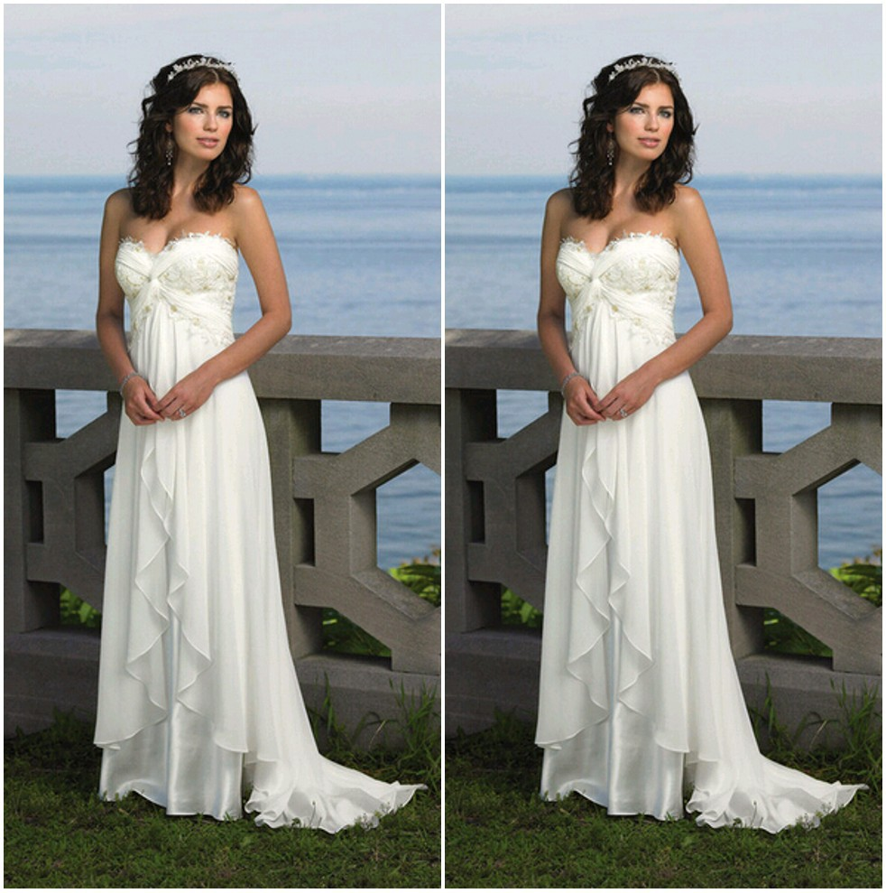 Romantic sweetheart beach wedding dress high quality for Beach chiffon wedding dress