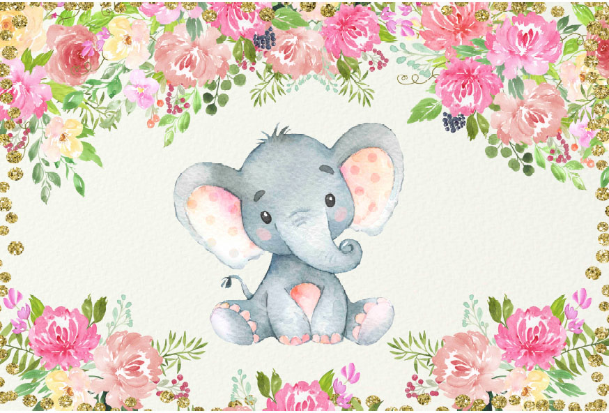 Little Peanut Girl Wallpaper 7x5ft Gold Coins Pink Poeny Flowers Elephant Baby Shower