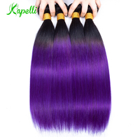 Pre Colored Ombre Human Hair Brazilian Straight Hair Weave 4 Bundles Deal 2 Tone 1B Purple Color Ombre Non Remy Hair Extensions