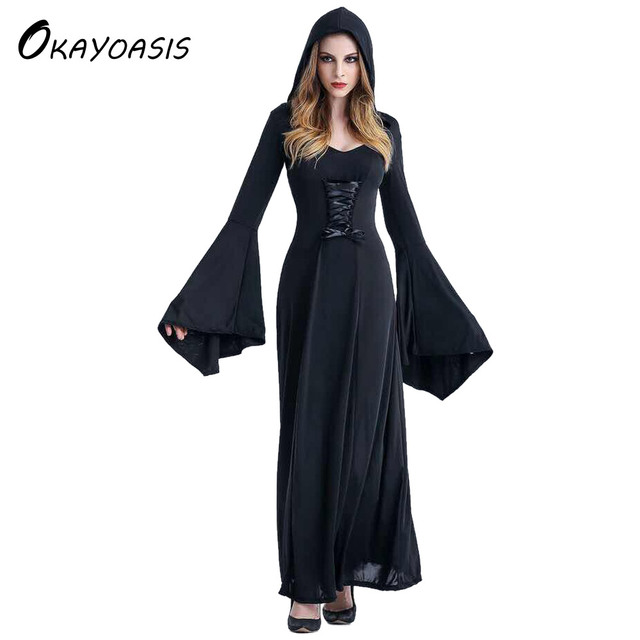 Victorian Halloween Costumes Hoodie Witch Costume Women Long Dress ...