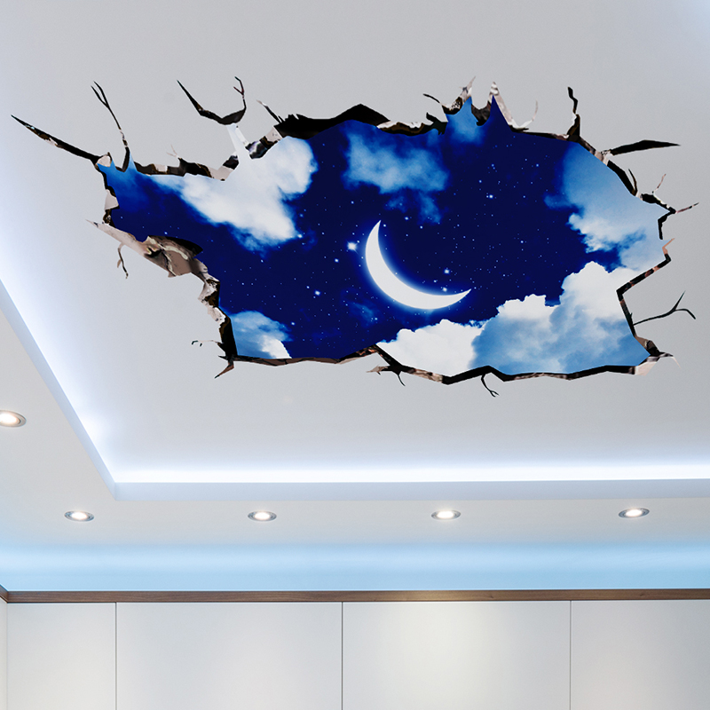 SHIJUEHEZI 3D Kreative Mond Wolken Wandaufkleber Wohnkultur Wohnzimmer Schlafzimmer Boden Dekoration Abnehmbare Vinyl Wandtattoos
