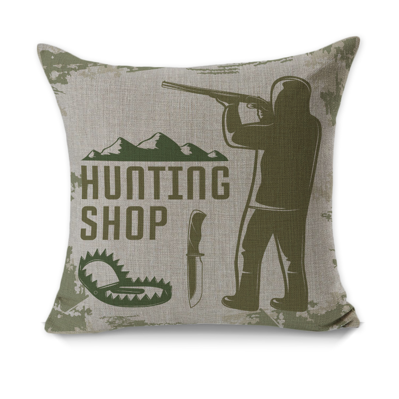 Rubihome 7 Pieces Lot Creative Decorative Pillow Cushion Cover Throw Polyester Fabric Home Decor Hunting Armory Fishing Design