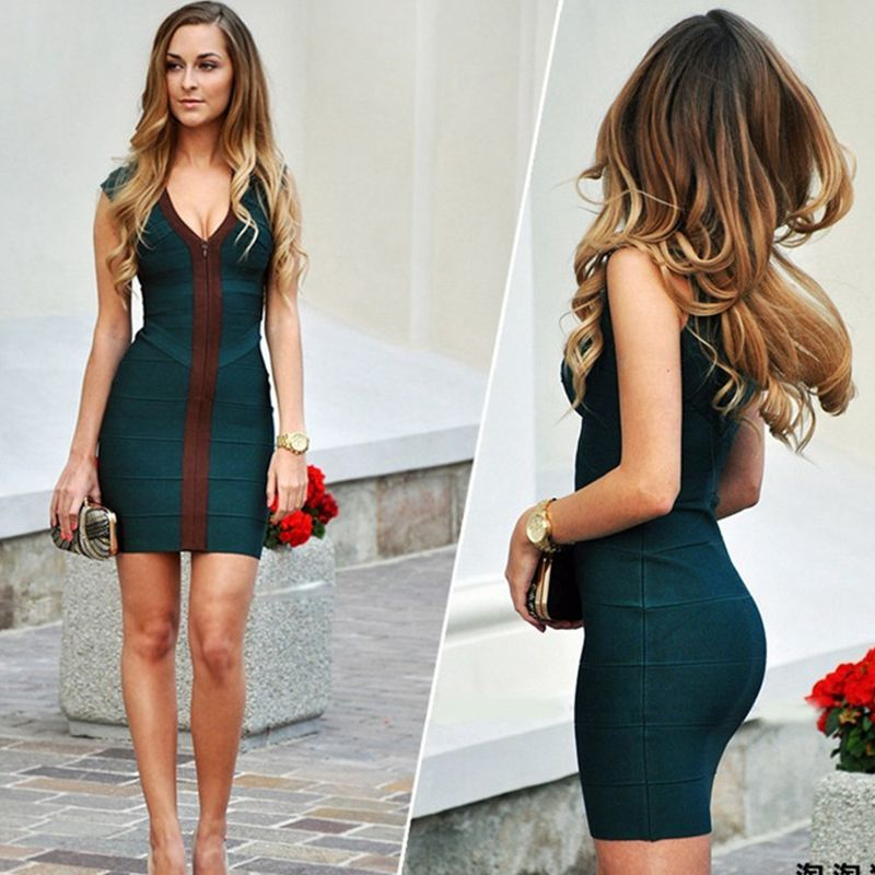 Sexy Deep V Neck Women Dress Bodysuit Cap Sleeve Bandage Dress Dark Green Peach Short Cocktail Celebrity Club Party Dresses Famous For High Quality Raw Materials, Full Range Of Specifications And Sizes, And Great Variety Of Designs And Colors