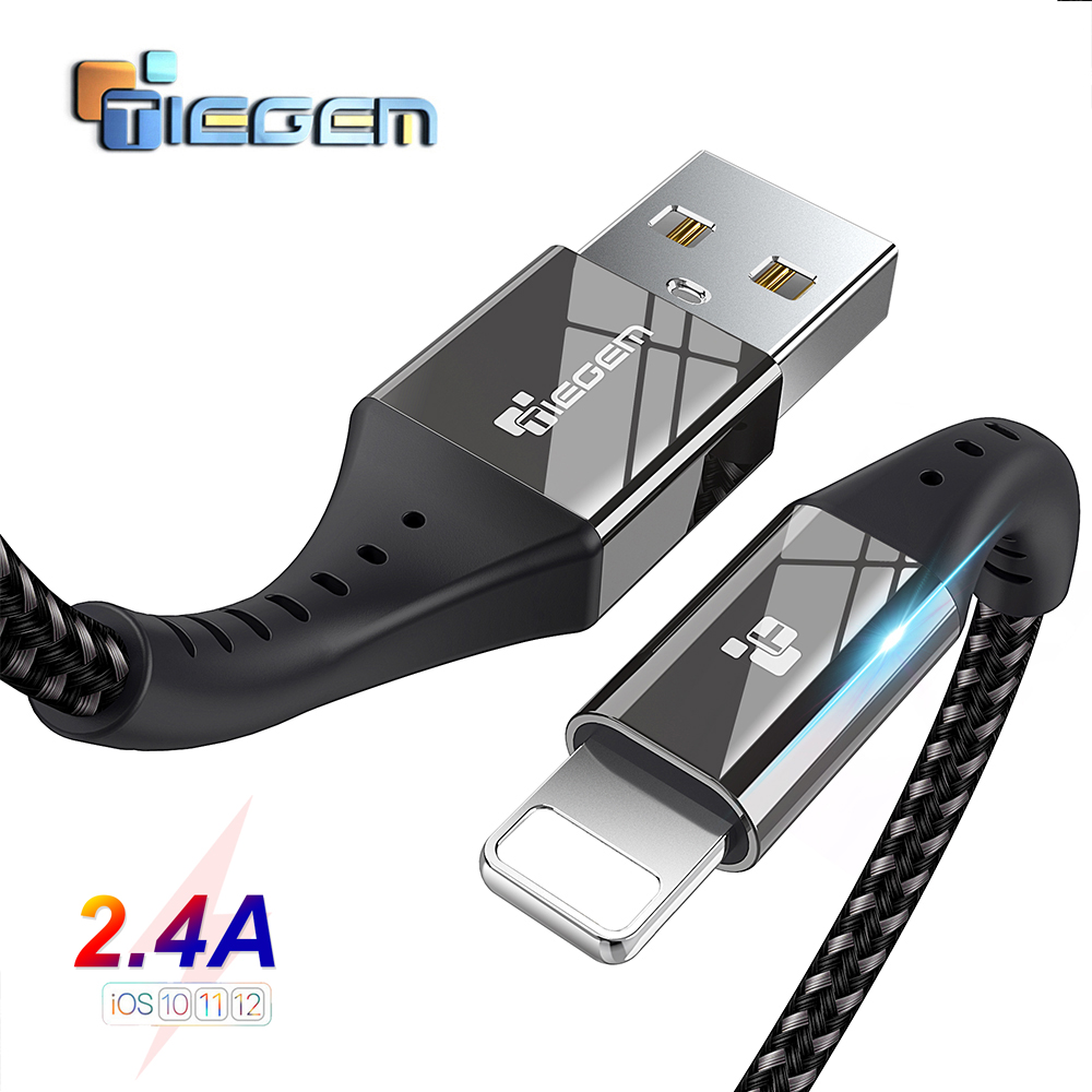 TIEGEM USB Cable For iPhone X XS MAX XR 8 7 6 5 S plus Cable