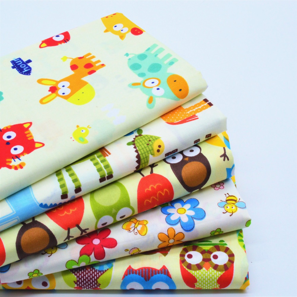 5Pcs 40*50cm Yellow Cartoon Printed Cotton Fabric Meter Diy Handmade Sewing Tissue Telas Para Patchwork Quilting Textiles