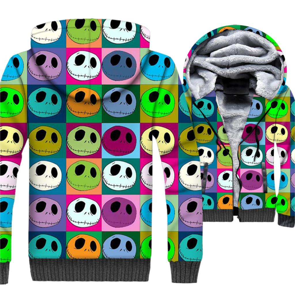Halloween Pumpkin King Jack Skellington Printed Colorful 3D Hoodies Men 2019 Winter Short Jacket Men Sweatshirts Harajuku Hooded