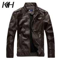Kh novos homens jaquetas de couro homem estilo britânico motocicleta jaqueta de couro casaco jaqueta de couro masculino zip casacos de couro