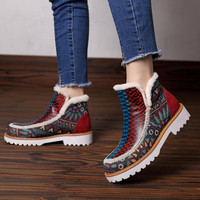 2019 warm fashion handmade leather knitting stitching casual women's boots big size color matching snow boots women denim boots