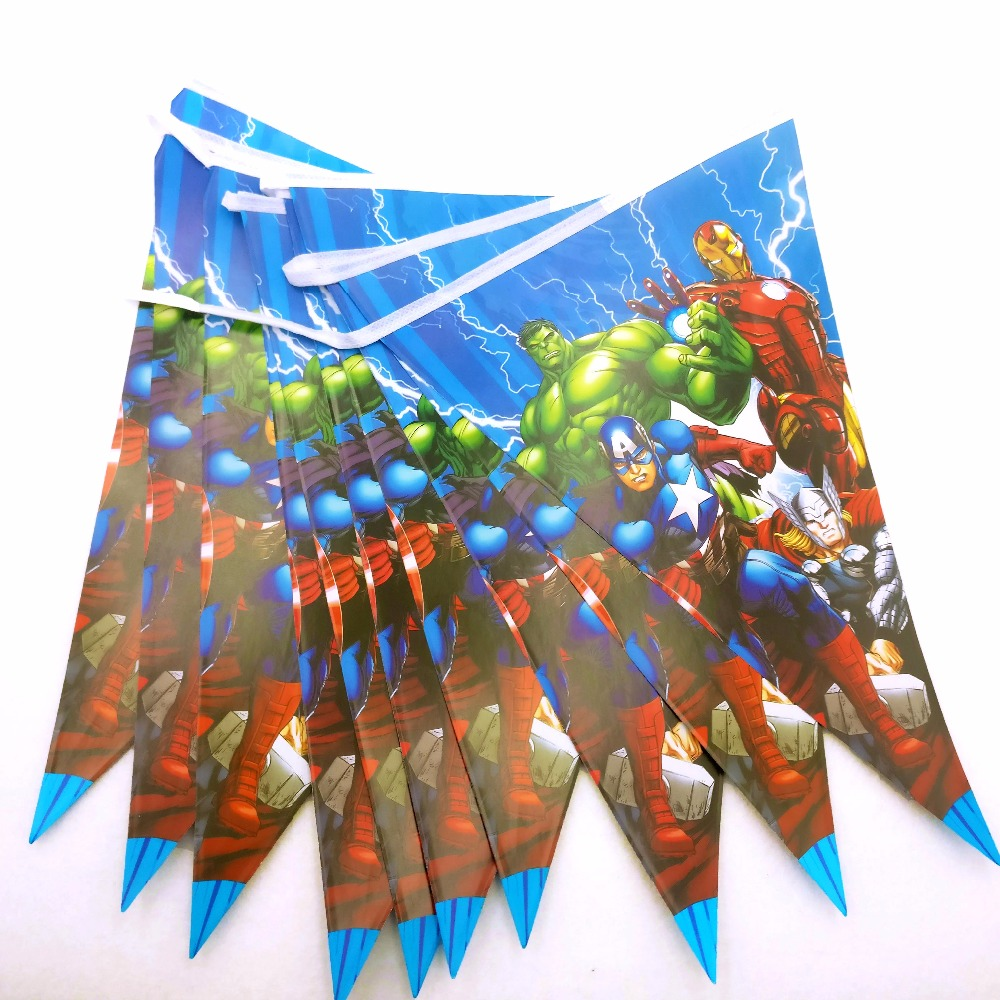1 conjunto os vingadores banner 2.5m bandeiras pequenas tema flâmula garoto menino festa de aniversário suprimentos decoração dos desenhos animados