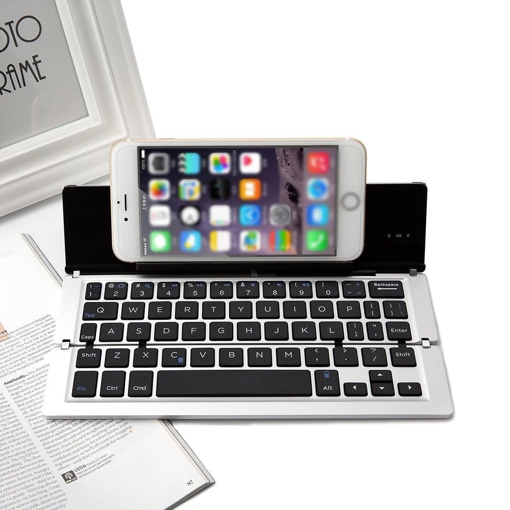 Wireless Keyboard,ANIMUSS Premium Portable Ultra-Slim Aluminum Alloy Foldable Buletooth 3.0 Keyboard with Folding Kickstand