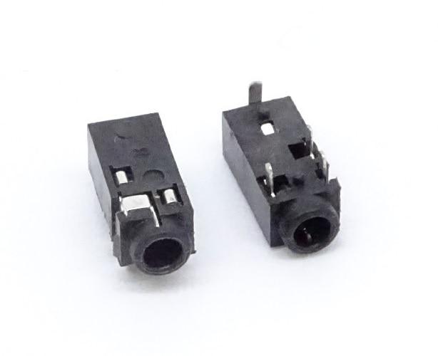 10 pces 2.5mm telefone jack 4 contatos 4 condutores trrs áudio estéreo soquete através do furo ângulo direito solda pcb