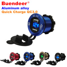 Buenbeer Car Socket USB Quick Charge Dual USB Motorcycle Power Socket Aluminium LED USB QC 3.0 Car Motorcycle Cigarette Lighter(China)