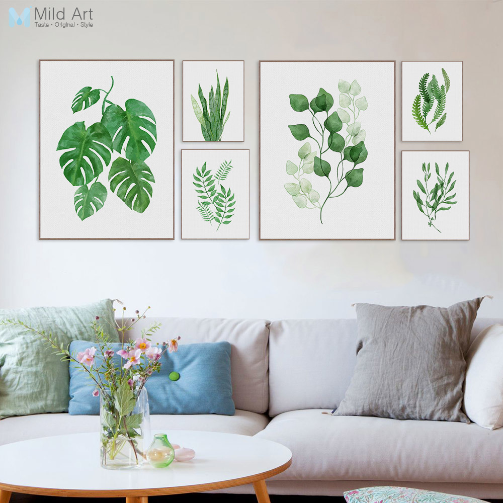Watercolor green plants monstera leaf poster print nordic for Cadre floral mural