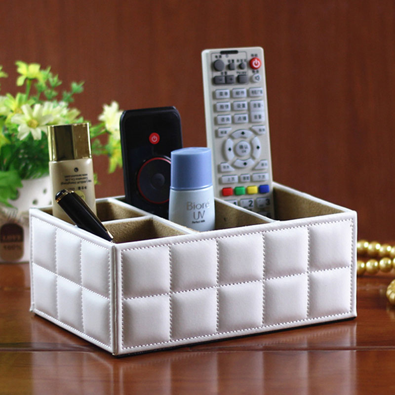 luxury pu leather storage boxes remote control controller tv guide mail cd caddy toy holder home. Black Bedroom Furniture Sets. Home Design Ideas