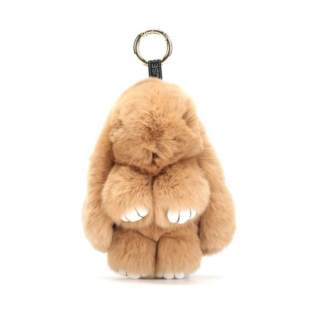 14cm bunny keychain natural rex rabbit fur fluffy bunny key chain