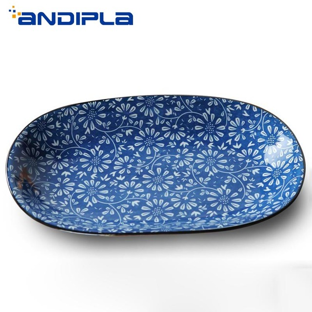 Creative Blue and White Porcelain Dinner Plate Oval Ceramic Fish Plate Japanese Style Tableware Fruit Sushi Dessert Tray Kitchen