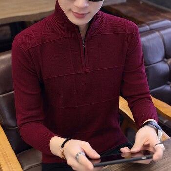 2019 Men's Sweaters Autumn Winter Warm Cashmere Wool Zipper Pullover Sweaters Man Casual Knitwear Plus Size M-XXXL 1