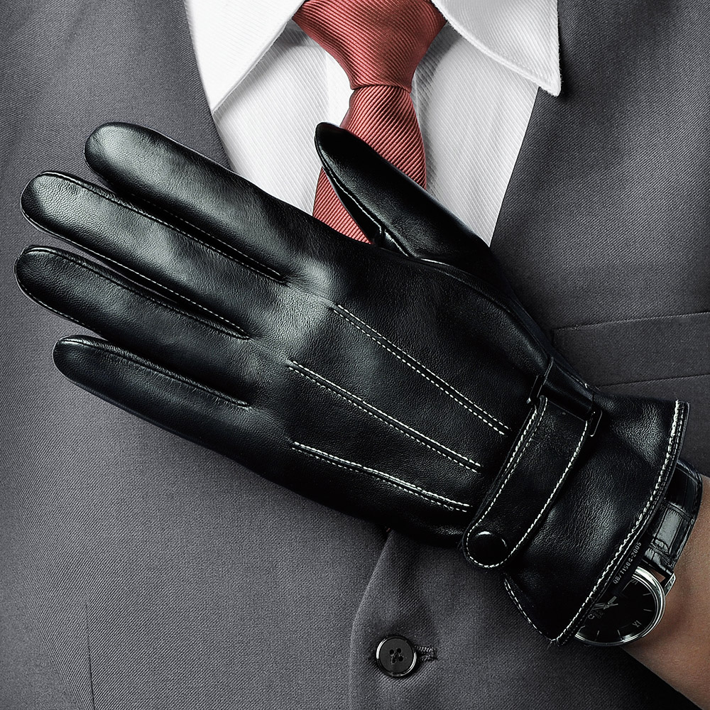 Top Quality Men Genuine Leather Gloves Winter Warm Driving Leather Gloves Fashion Wrist Buttons Sheepskin Gloves M009NC