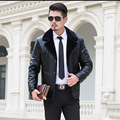 Winter Jackets Men Sheepskin Coat Motorcycle Jacket 2016 New Cotton Men's Leather Coat M-3XL