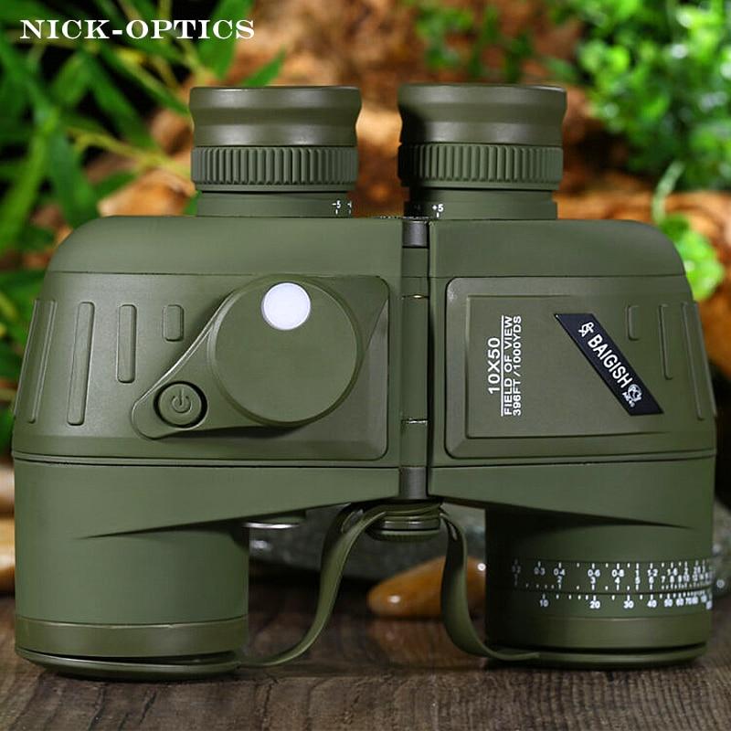 Puissant Russe Militaire Jumelles BAIGISH 10x50 Marine Télescope avec Boussole Numérique Étanche Lll Nuit Vision binoculaire