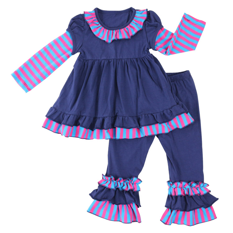Fall Winter Fashion Toddler Girls Outfits Infant Stripe Ruffle Dress Kids Flare Pants 2 PCS Newborn Baby Girl Clothes Sets minnie newborn baby girl clothes gold ruffle infant bodysuit bloomer headband set winter jumpsuit toddler birthday outfits