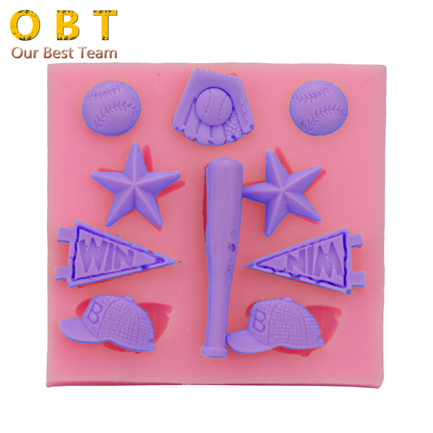 baseball cap cake pan cute star font club glove silicone fondant mold for washing